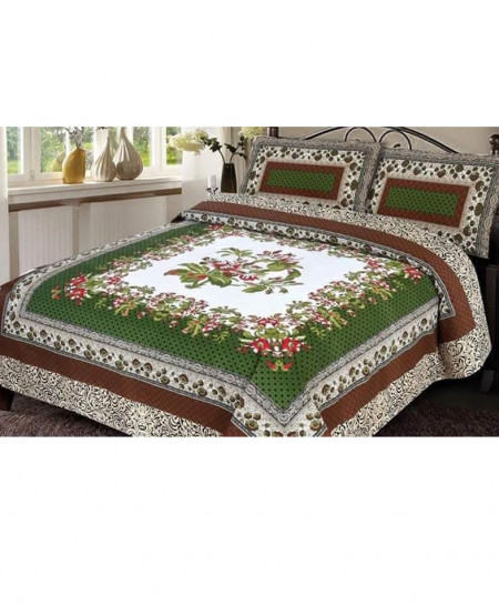 Multicolor with Green Floral Cotton Bedsheet BA-FB1145