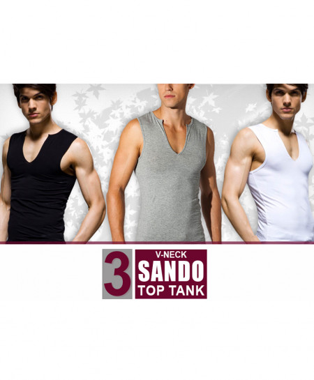 Pack Of 3 V-Neck Top Tank Sando JT-5646