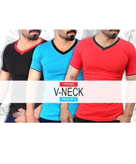 Pack Of 3 Modern Style V-Neck T-Shirt QZS-075