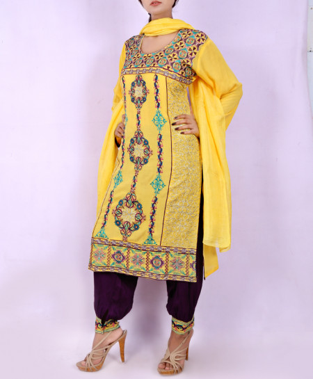 Yellow Embroidered Stylish Ladies Suit With Patiala Shalwar NGL-008