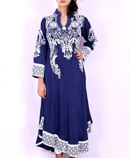 Navy Blue Embossed Anarkali Stylish Long Kurti KC-3183