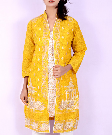 Yellow Shairwani Style Embroidered Kurti KC-3186