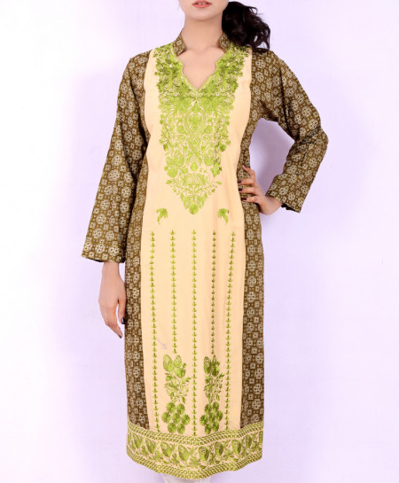 Olive Green Embroidered Stylish Kurti KC-3190