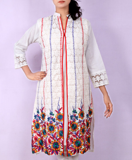 White Multicolored Embroidered Shairwani Style Kurti KC-3192