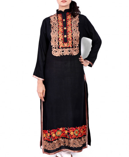 Black Embroidered Button Style Kurti KC-3193