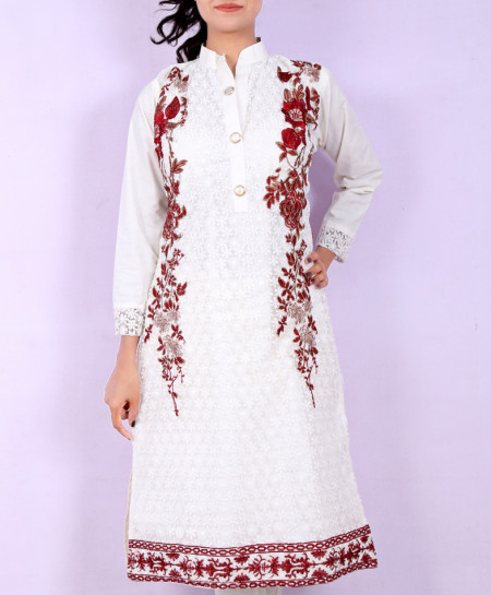 White Maroon Embroidered Button Style Kurti KC-3194