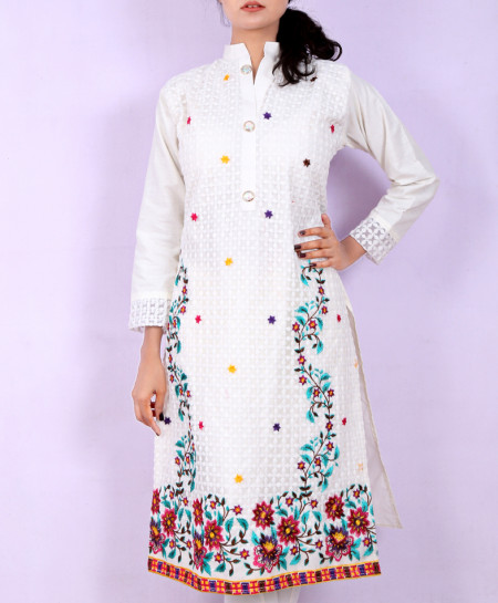 White Multicolored Floral Embroidered Style Kurti KC-3195