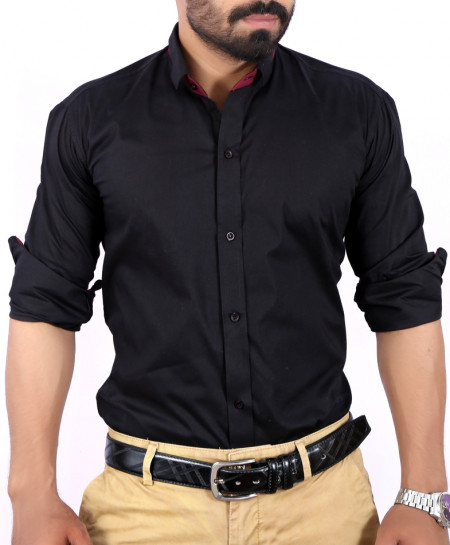 Black Plain Shirt With Red Tipping