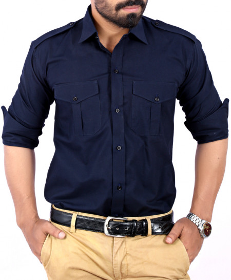 Navy Blue Front Flap Double Pocket Shirt