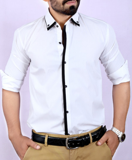 White Plain Shirt With Black Tipping