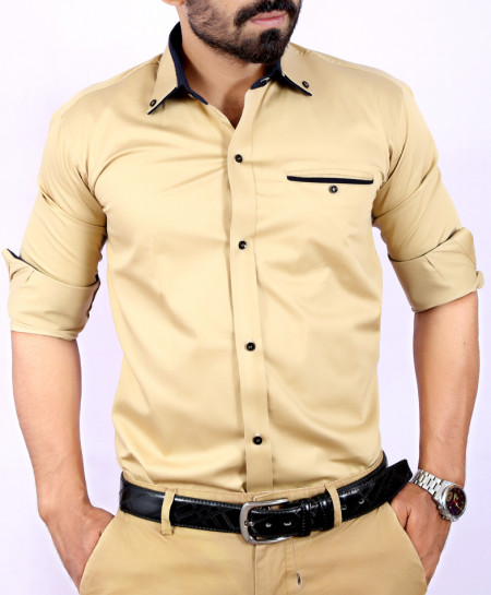 Brown Plain Shirt With Navy Blue Tipping