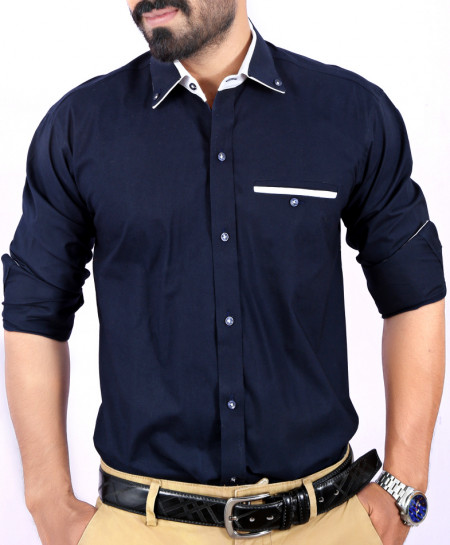 Navy Blue Plain Shirt With White Tipping