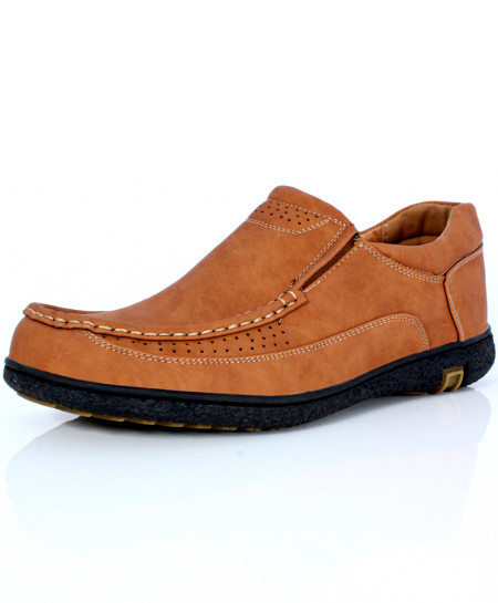Camel Brown Doted Stitched Design Slip On Shoes DR-295