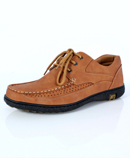 Camel Brown Stitched Doted Design Lace-Up Shoes DR-306