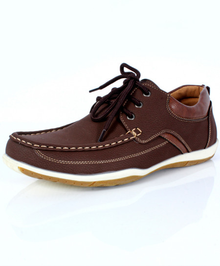 Dark Brown Stitched Design Lace-Up Shoes DR-307
