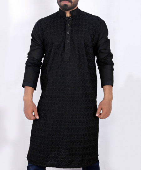 Black Chicken Embroidered Style Kurta ARK-903