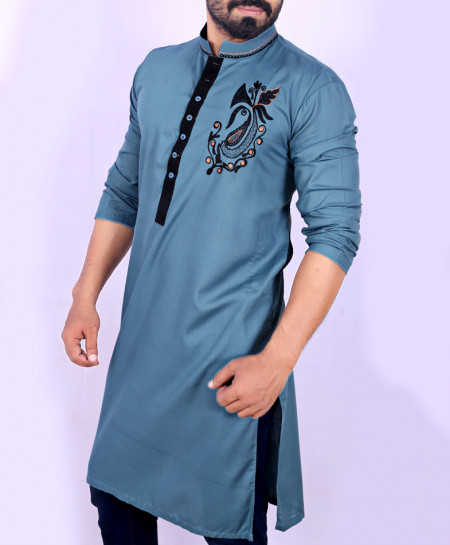 Slate Blue Embroidered Style Kurta ARK-907