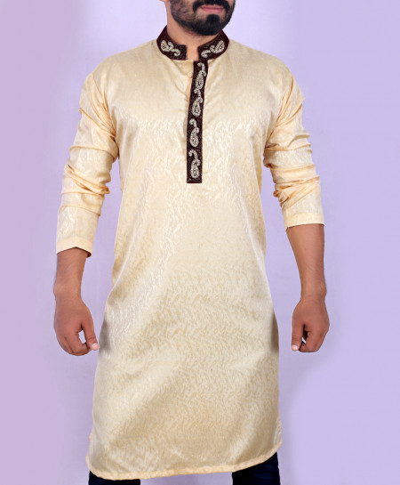 Light Brown Neck Handwork Embroidered Style Kurta ARK-908
