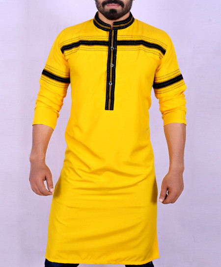Yellow Black Stitched Design Kurta ARK-909