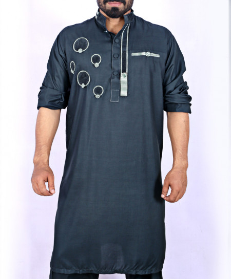 Slate Grey Front Embroidered Kurta Shalwar ARK-913