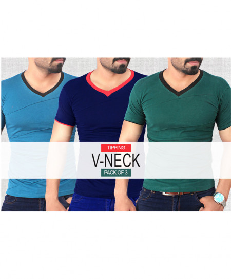 Pack Of 3 Modern Tipping V-Neck Style T-Shirt QZS-077