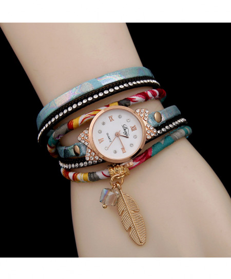 Multicolor Leaf Style Ladies Bracelet Watch AM-236