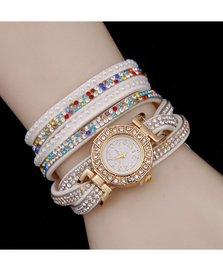 White Multicolor Stone Ladies Watch AM-238