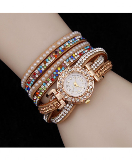Golden Multicolor Stone Ladies Watch AM-239