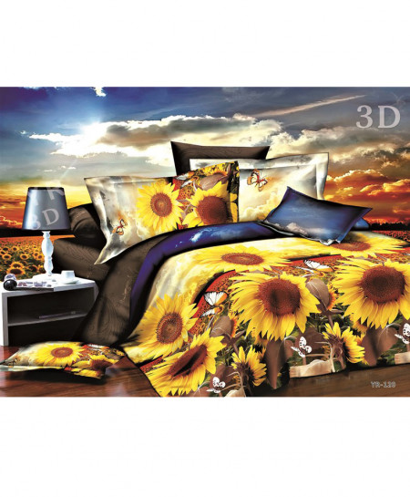 3D Multicolored Sunflowers Satin Bedsheet SD-0343