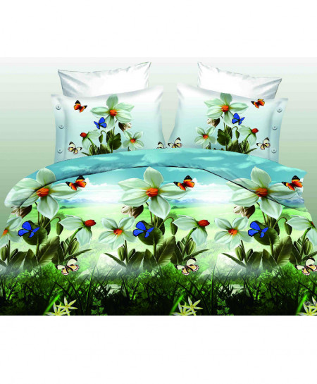 3D Sea Green Floral Satin Cotton Bedsheet SD-0105