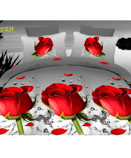 3D Grey Roses Satin Cotton Bedsheet SD-0361