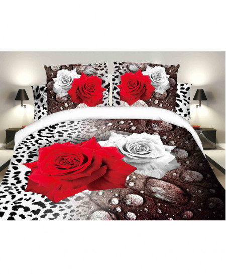 3D Multicolored Roses Satin Cotton Bedsheet SD-0357