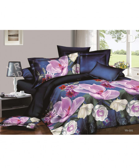 3D Navy Blue Floral Satin Cotton Bedsheet SD-0125