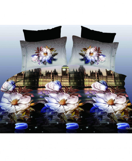 3D London Hotel Floral Satin Cotton Bedsheet SD-0338