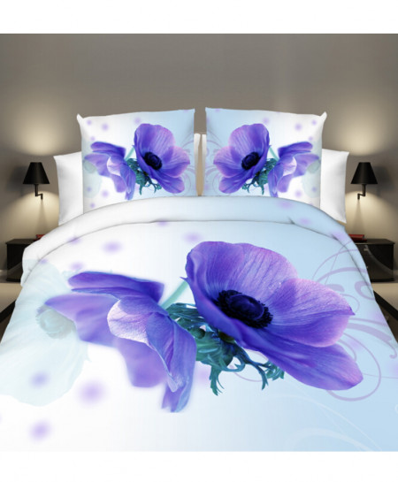 3D White Floral Satin Cotton Bedsheet SD-0130