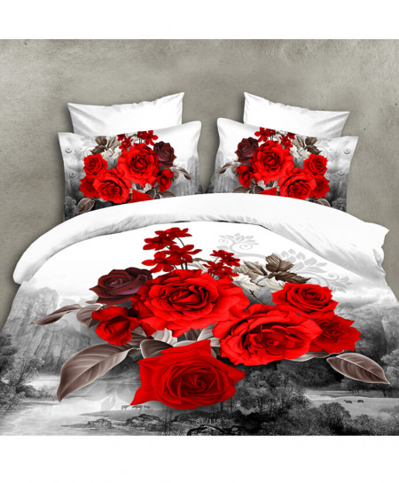 3D White Grey Roses Satin Cotton Bedsheet SD-0349