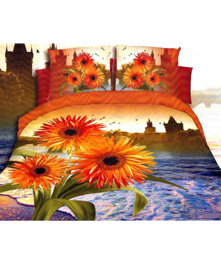 3D Landscape Floral Satin Cotton Bedsheet SD-0322
