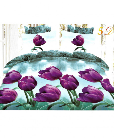 3D Sea Green Tulip Satin Cotton Bedsheet SD-0142