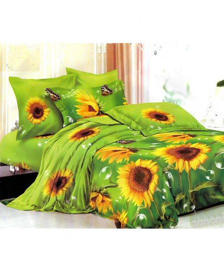 3D Green Sunflower Satin Cotton Bedsheet SD-0359