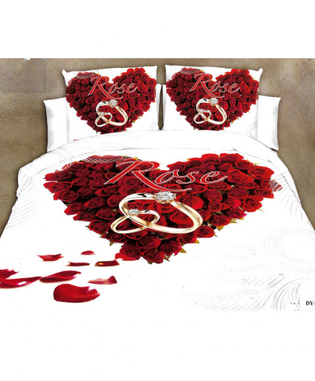 3D White Heart Roses Satin Cotton Bedsheet SD-0352