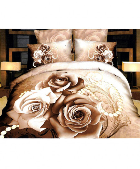 3D Coffee Brown Floral Satin Cotton Bedsheet SD-0151