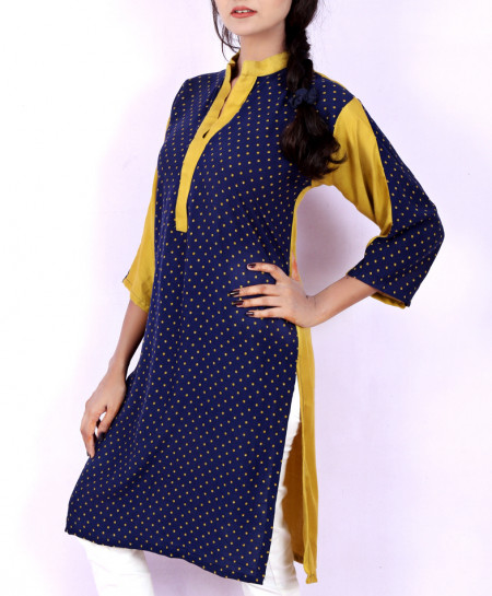 Blue Yellow V-Neck Polka Dots Ladies Kurt VRJ-1755