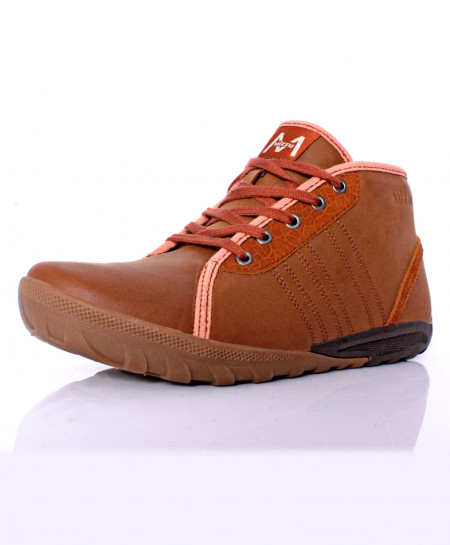 Brown Stitched Design Casual Shoes DR-313