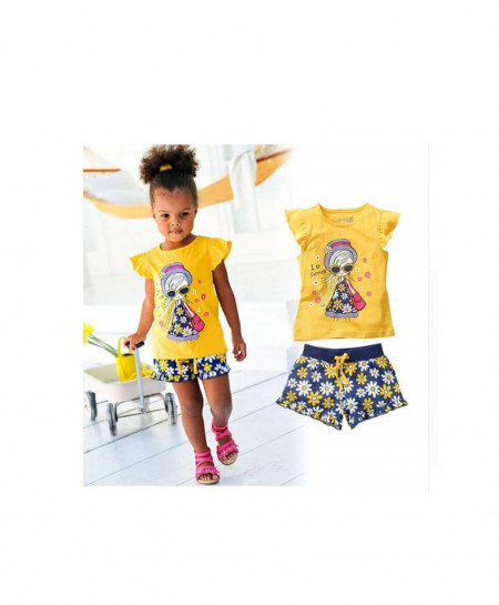 Yellow With Blue Color Baby Dress AM-245