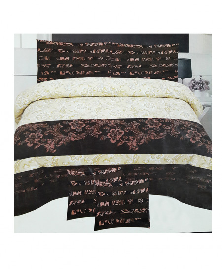 Reddish Brown Color Floral Style Cotton Bedsheet SY-314