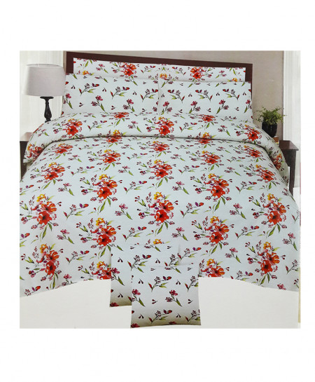 White Color Floral Style Cotton Bedsheet SY-335