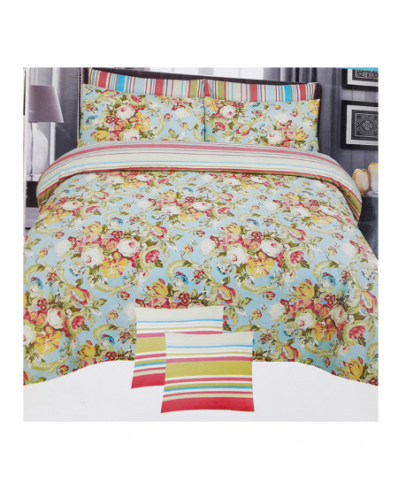 Multi Color With Blue Floral Cotton Bedsheet SY-336