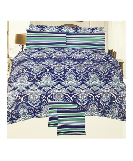 Blue With Green Floral Style Cotton Bedsheet SY-342