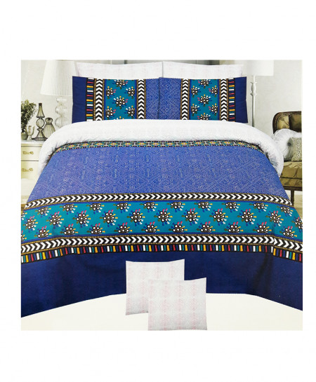 Multi Color With Blue Floral Cotton Bedsheet SY-346