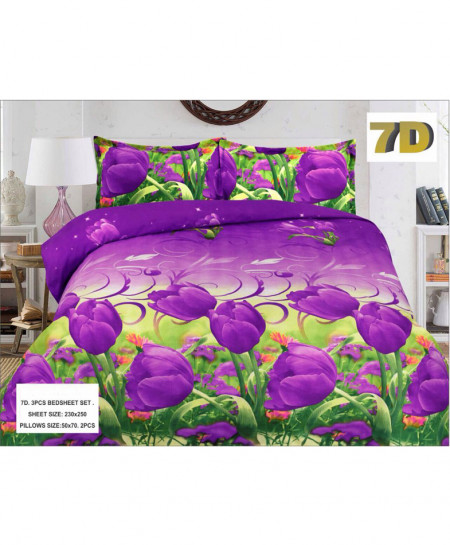 Purple With Green Floral 7D Bedsheet SY-D-349